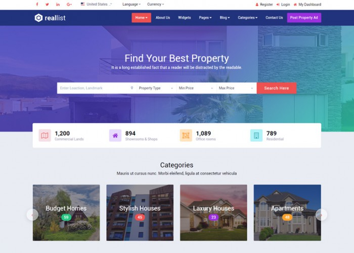 Reallist – Premium Responsive Real Estate HTML5 Template