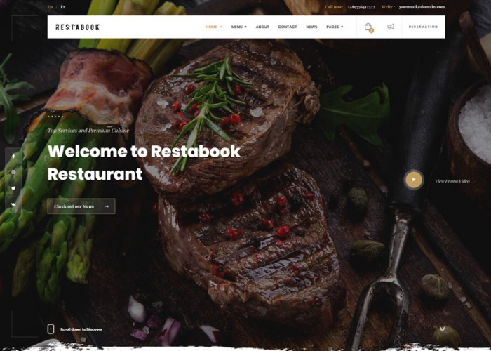Restabook – Premium Responsive Restaurant Cafe HTML5 Template
