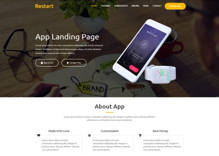 Restart – Premium Responsive App Landing Page HTML5 Template