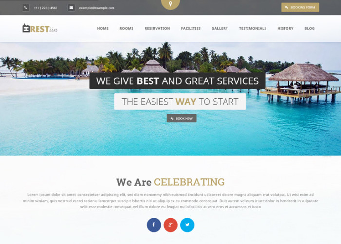 Restinn – Premium Responisve Booking One Page WordPress Theme For Resort Hotel
