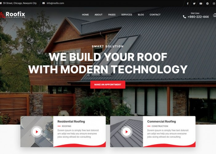 Roofix – Premium Responsive Roofing Services WordPress Theme