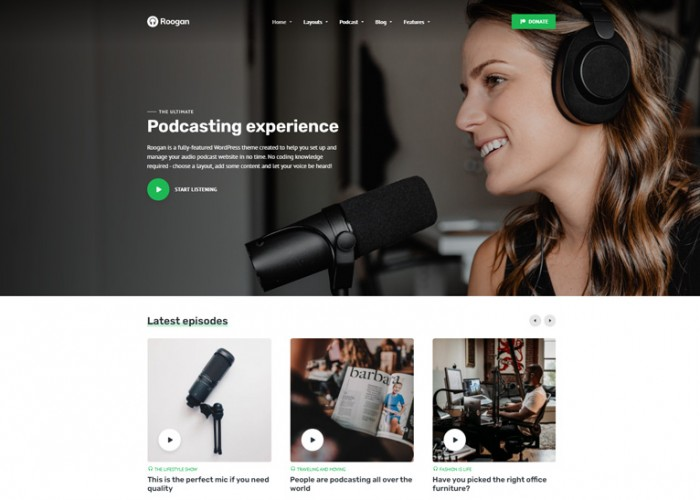 Roogan – Premium Responsive Audio Podcast WordPress Theme