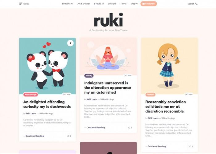 Ruki – Premium Responsive Captivating Personal Blog WordPress Theme