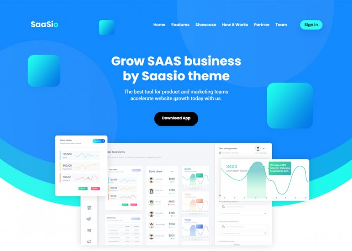 SaaSio – Premium Responsive One Page SaaS HTML5 Template