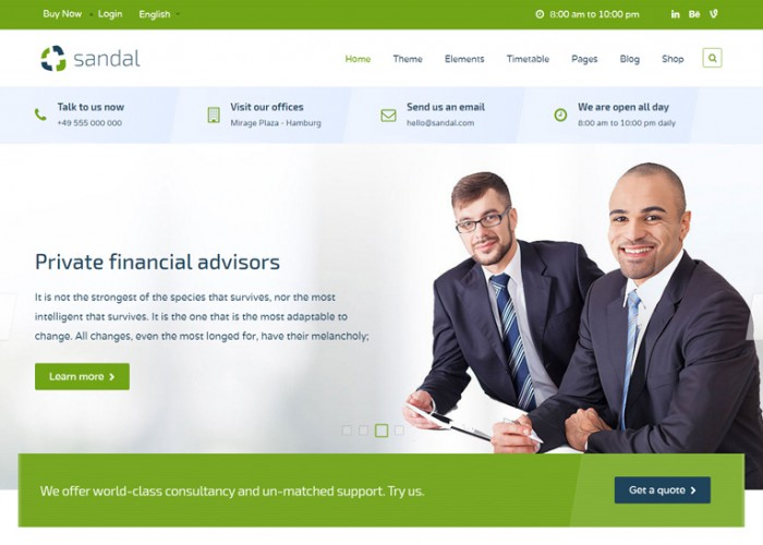 Sandal – Premium Responsive Finance & Consultancy Business Joomla Template