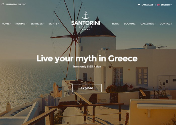 Santorini Resort – Premium Responsive Retina Hotel WordPress Theme