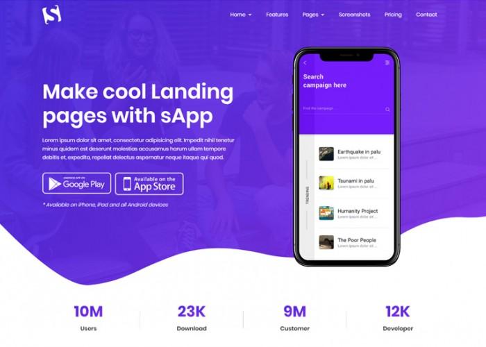 Sapp – Premium Responsive App Landing Page HTML5 Template