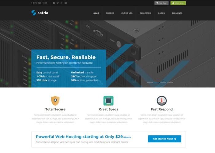Satria – Premium Responsive Professional Hosting HTML5 Template