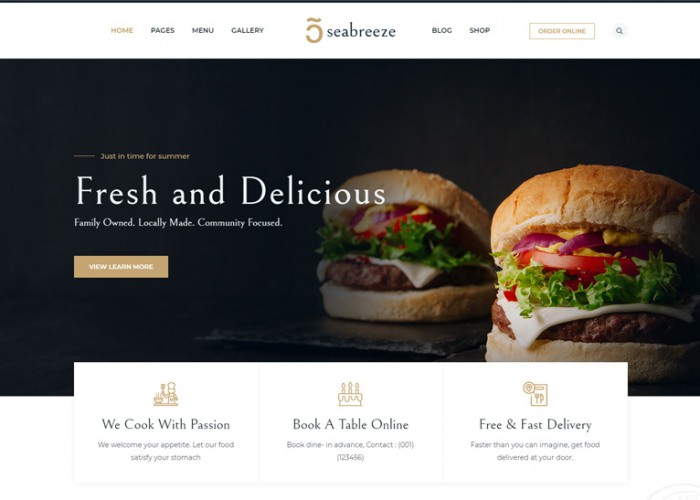 Seabreeze – Premium Responsive Restaurant and Cafe WordPress Theme