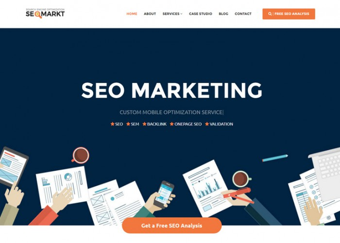 SEOMarkt – Premium Responsive Flat SEO Marketing WordPress Theme