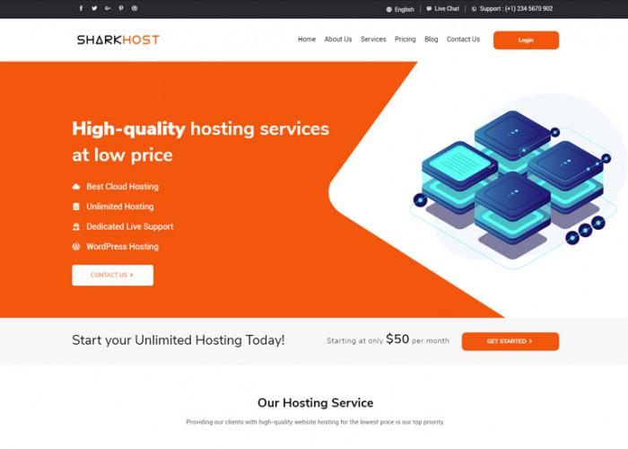 SharkHost – Premium Responsive Hosting HTML5 Template