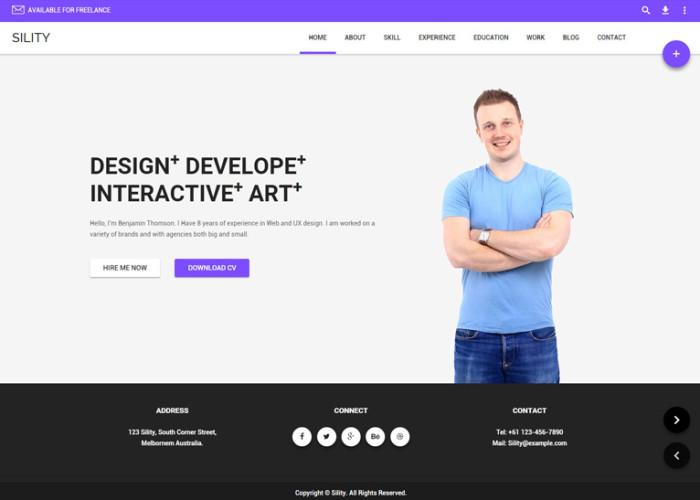 Sility – Premium Responsive vCard, CV & Resume HTML5 Template