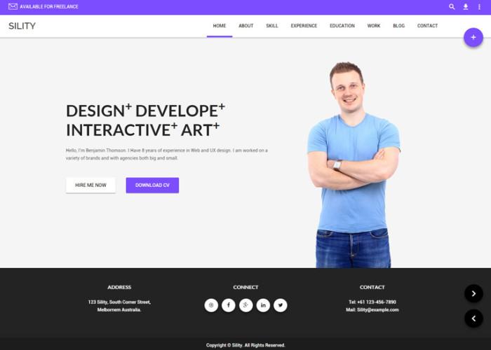 Sility – Premium Responsive vCard, CV & Resume WordPress Theme