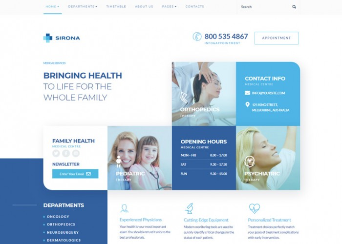 Sirona – Premium Responsive Medical & Health WordPress Theme