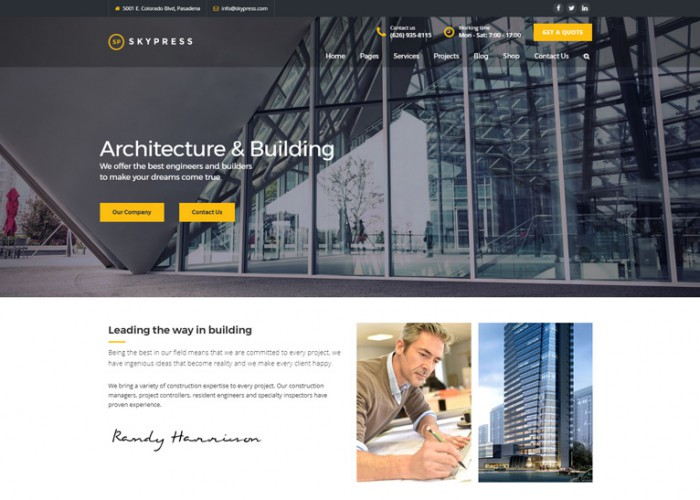 SkyPress – Premium Responsive Building Construction WordPress Theme