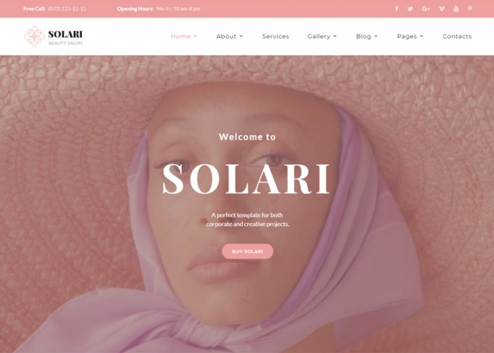 Solari – Premium Responsive Beauty Salon HTML5 Template