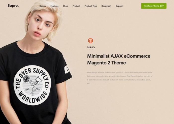 Supro – Premium Responsive Minimalist AJAX Magento 2 Theme