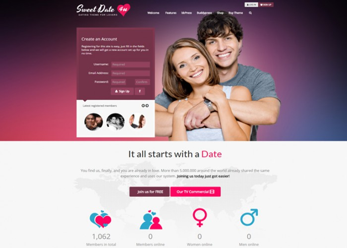 Sweet Date – Premium Responisve WordPress Dating Theme