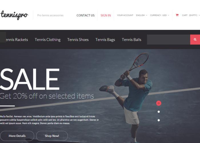 Tennis Gear – Premium Responsive Tennis Accessories PrestaShop Theme