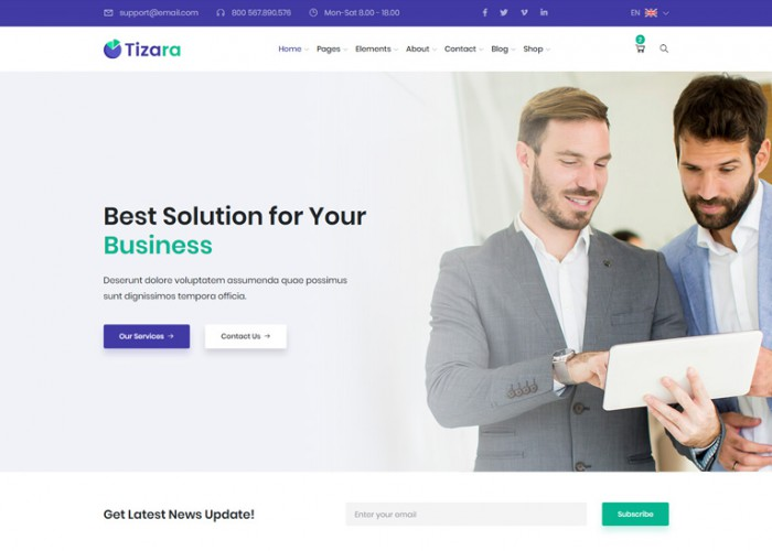 Tizara – Premium Responsive Business & Corporate HTML5 Template