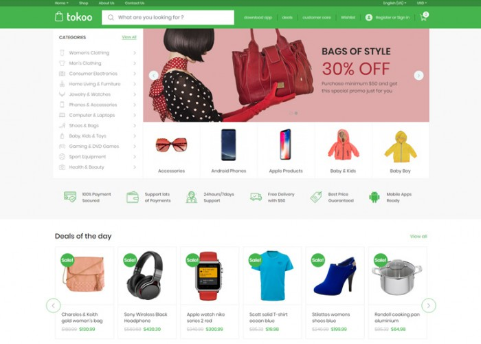 Tokoo – Premium Responsive WooCommerce Dropship WordPress Theme