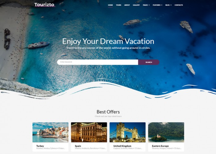 Tourizto – Premium Responsive Travel Company WordPress Theme