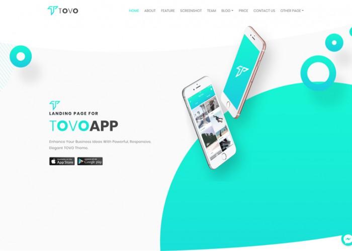 Tovo – Premium Responsive React App Landing Page HTML5 Template