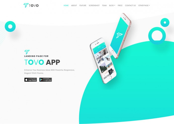 Tovo – Premium Responsive Angular 8 App Landing Page HTML5 Template