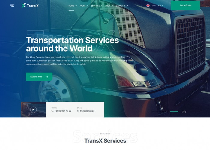TransX – Premium Responsive Transportation HTML5 Template