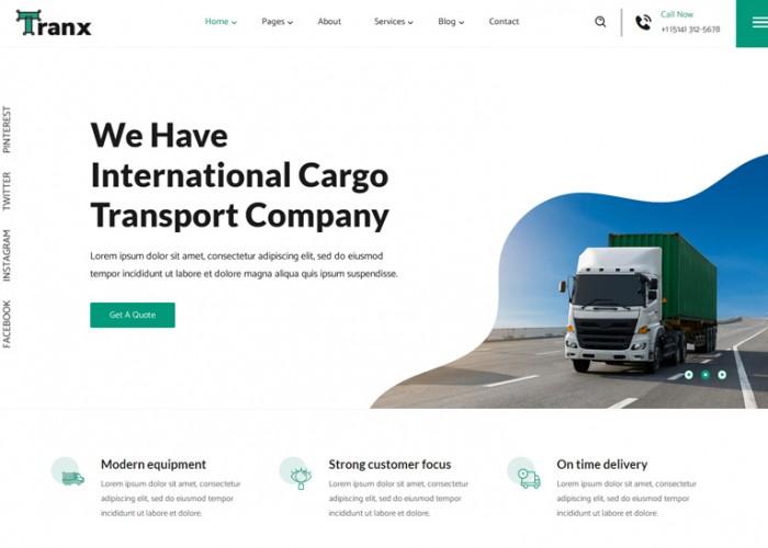 Tranx – Premium Responsive Logistics Company HTML5 Template
