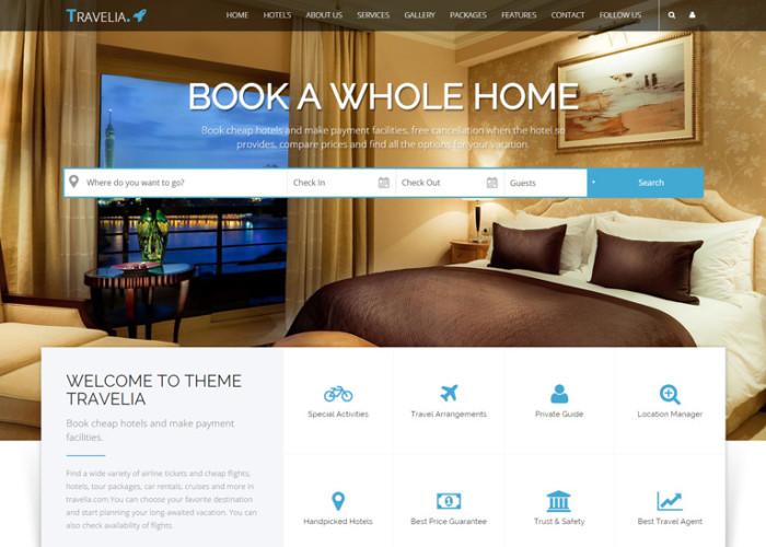 Travelia – Premium Responsive Travel Package HTML5 Template