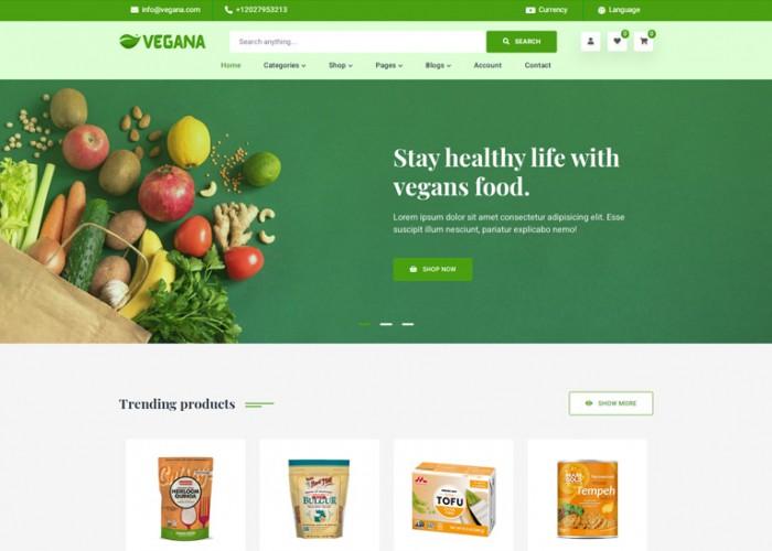 Vegana – Premium Responsive Vegan Food eCommerce HTML5 Template