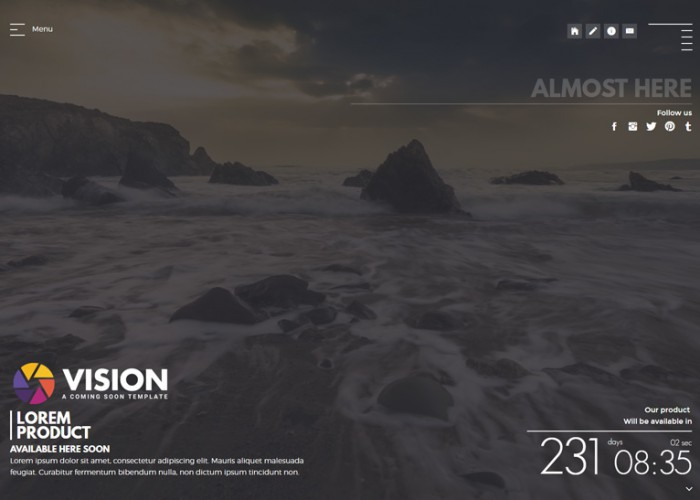 VISION – Premium Responsive Creative HTML5 Template For Coming Soon Page