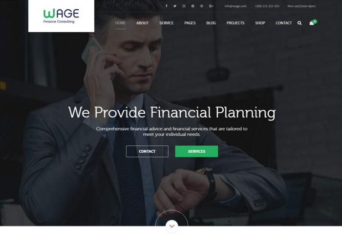 Wage – Premium Responsive Business and Finance WordPress Theme