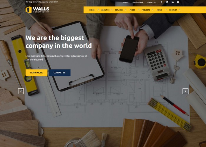 Walls – Premium Responsive Construction Muse Template