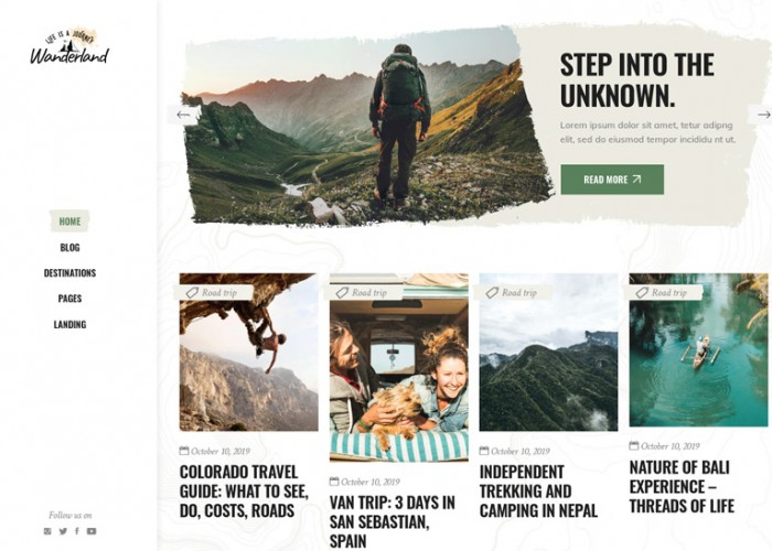 Wanderland – Premium Responsive Travel Blog WordPress Theme
