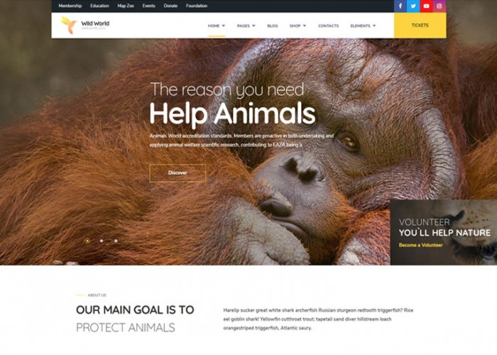 WildWorld – Premium Responsive Nonprofit & Ecology WordPress Theme