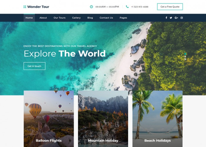 Wonder Tour – Premium Responsive Travel Agency HTML5 Template