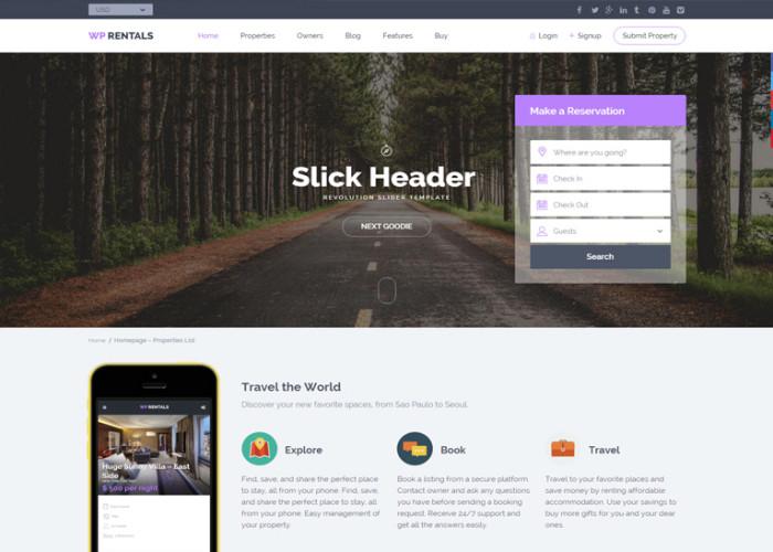 WP Rentals – Premium Responisve Booking Accommodation WordPress Theme