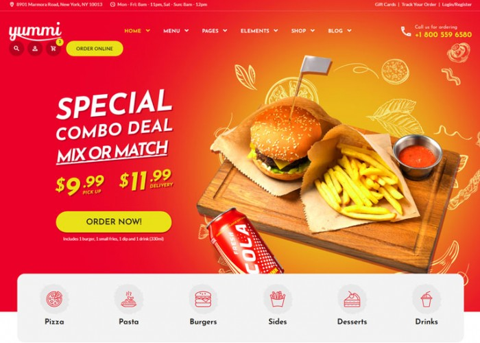 Yummi – Premium Responsive Fast Food Delivery HTML5 Template