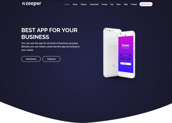 Zeeper – Premium Responsive App Landing Page HTML5 Template