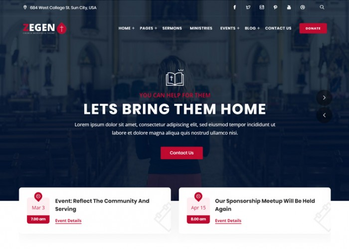 Zegen – Premium Responsive Church WordPress Theme